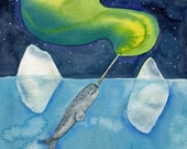 Narwhal Aurora, original watercolor