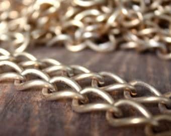 3 feet - Brass vintage Chain -  curb chain  - chunky gold chain