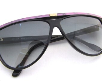 Vintage 1980's Black and Mauve Sunglasses // made in ITALY 70s 80s Frames