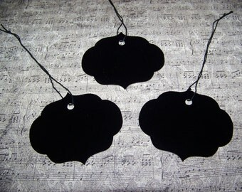 Tags-Scalloped Black Tags-36 Decorative Tags-Hang Tags-Price Tags-Prestrung-Size-2 3/4 inches high by 3 1/4 inches wide
