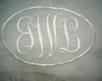 detachable 3 initial monogram applique to stitch onto existing veil