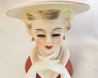 Vintage Rubens head vase lady with gloves and pearls