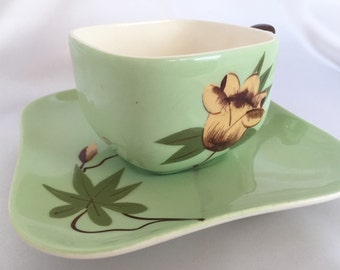 Weil Ware California Pottery celery green blossom cup and saucer