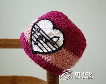 Musical Heart Hat, Crochet Beanie, Pink Heart Music Hat, Music Note Beanie, Girl's Clothing, Women's Clothing, Accessories, Music Notes