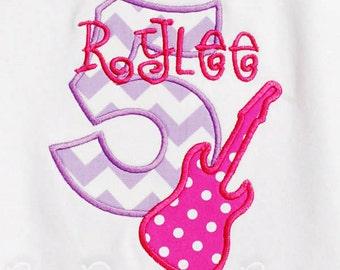 Girl's Guitar Birthday Shirt, Guitar Birthday Shirt, Rock Star Birthday Shirt, Any Age, You Pick Fabrics and Font