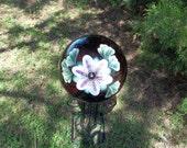 Plum Translucent Gazing Ball w/ Passionflower