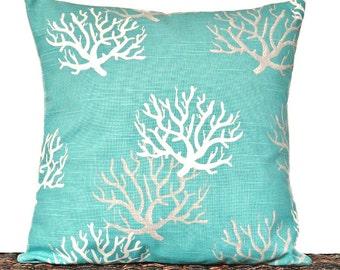 Turquoise Sea Coral Pillow Cover Cushion White Taupe Coastal Beach Decorative 18x18