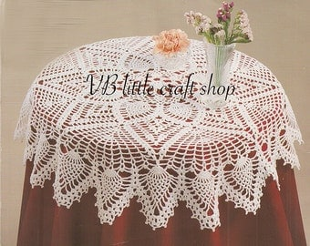 Doily/table topper with pineapples crochet pattern. Instant PDF download!
