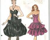Vintage 80s Vogue Party Dress Pattern Strapless Uncut FF 34 36 38 bust 1980s Bubble Skirt Vogue 9893 12-14-16 M L