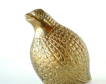 Vintage Brass Quail Figurine | Mid Century Modern Home Decor | Flea Market Chic