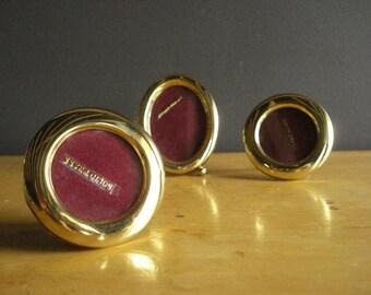 Brass Frame Trio - Small Vintage Brass Oval and Round Frames - Set of Three 3 Frames