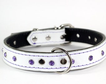 White Leather Dog Collar - Purple Crystal Leather Collar - Crystal Leather Dog Collar - Purple Crystal Collar - made in USA