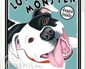 "Pit Bull Terrier Art - Love Monster Doggie Treats - ""For Your Bottomless Pit Bull""  -  8x10 art print by Krista Brooks"