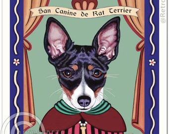 8x10 Rat Terrier Art - Patron Saint of Rascals -  Art print by Krista Brooks