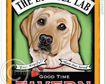 8x10 Yellow Lab Art - Lovable Lab - Good Time Tavern -  Art print by Krista Brooks