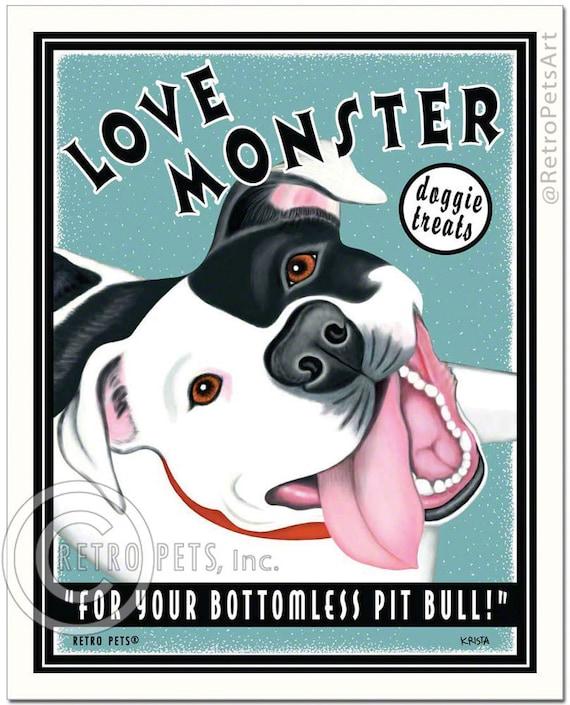 "8x10 Pit Bull Terrier Art - Love Monster Doggie Treats - ""For Your Bottomless Pit Bull""  -  Art print by Krista Brooks"