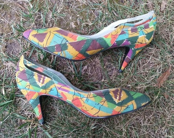 Op Art Shoes 1980s Pumps Abstract 80s Heels Womens Heels Womens Pumps Modern Art Tribal Print Vintage New Wave Shoes Soho Shoes Size 8.5 M