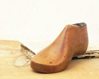 Vintage child's wooden shoe mold shoe form R