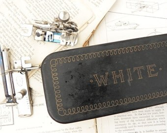 Vintage antique White sewing machine attachments with tin box