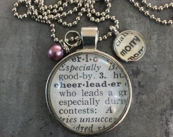 Vintage Dictionary Word Necklace - Cheerleader Mom