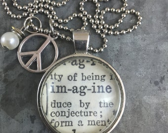 One Word Dictionary Necklace- Imagine with Peace Charm