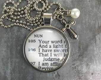 Vintage Bible Verse Pendant Necklace Psalms 119:105