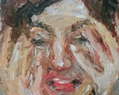 Original oil painting portrait girl face worried sad small sketch new art modern style on a panel artwork