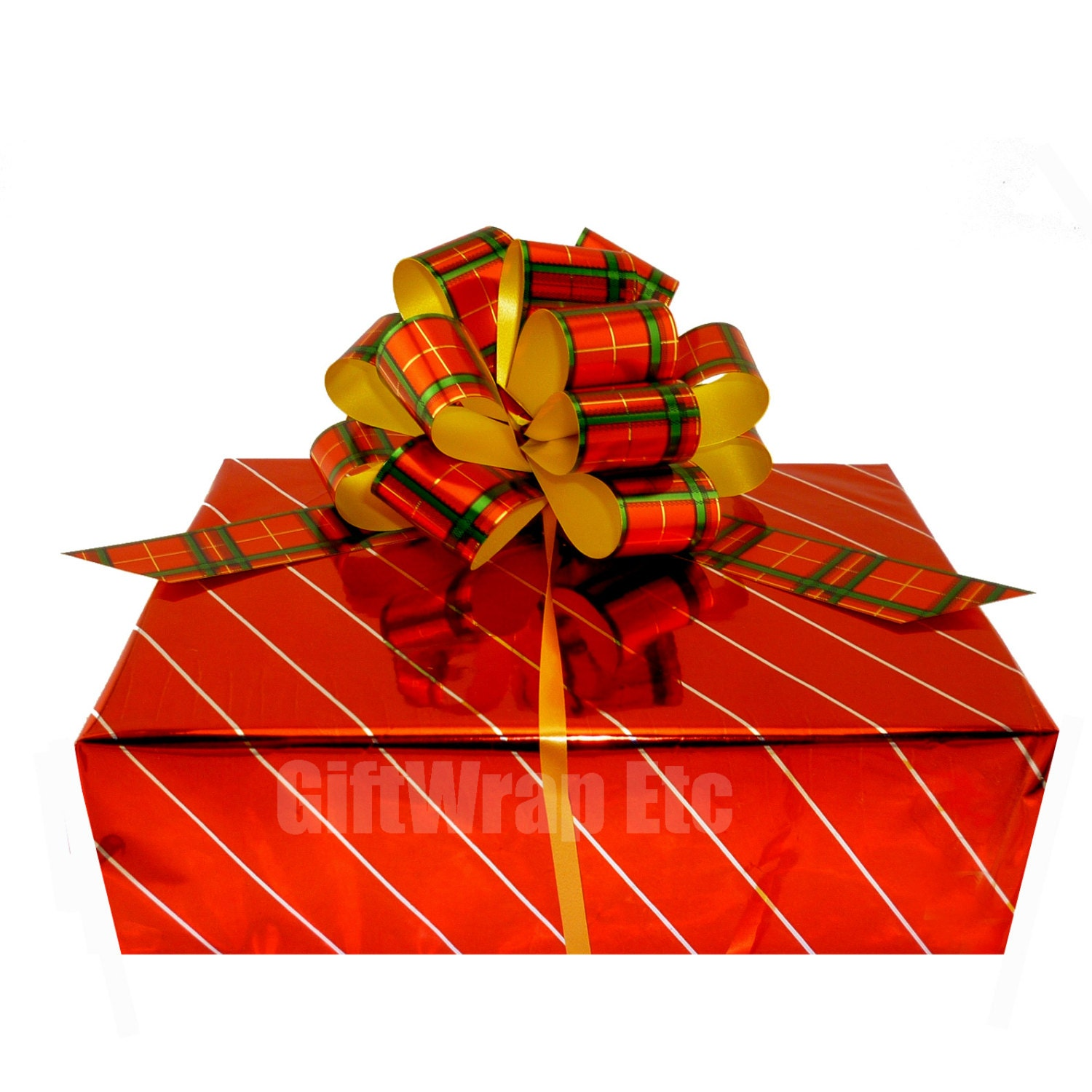 6 Metallic Plaid Christmas Pull Bows Gold Green Red Gift Wrap