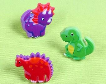 Dinosaur Ring Cupcake Rings, Dino Cupcake Ring Toppers, Dino Party Kids RIngs, Dino Party Favor Rings, Dinosaur Favors (set of 12)
