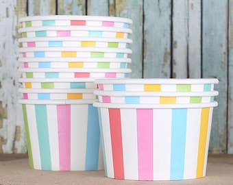 Pastel Stripe Ice Cream Cups, Stripe Paper Ice Cream Cups, Rainbow Sundae Cups, Wedding Ice Cream Cups, Large Ice Cream Cups (Set of 12)
