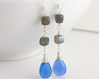 Blue Chalcedony & Cube Labradorite Earrings