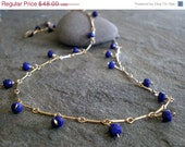 ONSALE Delicate Lapis Lazuli Rondelle Necklace in 14K Goldfill Bar Link Necklace