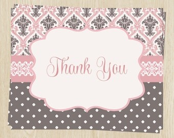 Baby Shower Thank You Cards, Baby Girl, Crown, Pink, Brown, Polka Dots, Set of 24 Folding Notes, FREE Shipping, REGPR, Regency Princess