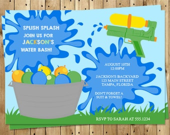 Birthday Party Invitations Splish Splash Water Balloon Gun