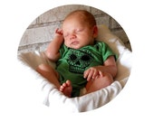 Baby Top, Day of the Dead One Piece, Sugar Skull Cotton baby bodysuit, Infant Creeper, one piece snapsuit, kelly green, Screen-printed Shirt