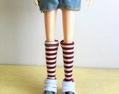 Blythe Long Sock, Red Velvet and Cream Stripe, Vintage Inspired