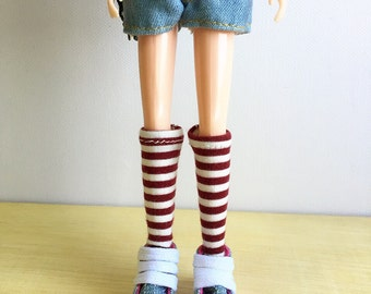 Blythe Long Sock, Red Velvet and Cream Stripe, Vintage Inspired