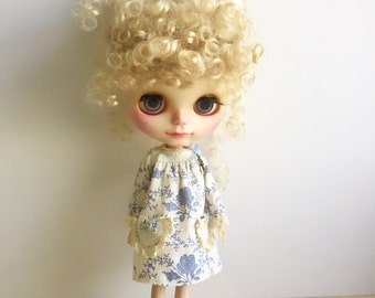 Blythe Dress,Long Sleeve ,Vintage Inspired, Cream and Blue Fabric