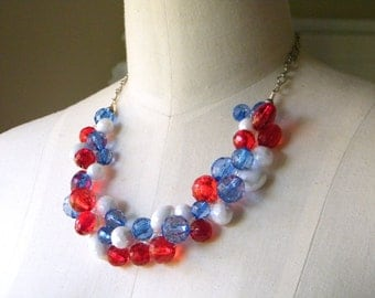 Red, White and Blue Chunky Necklace, Crystal ACRYLIC, Patriotic Necklace