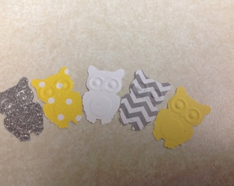 50 pc Paper Owl   Confetti   Yellow Grey Chevron  New Baby        birthday party   confetti    table decorations