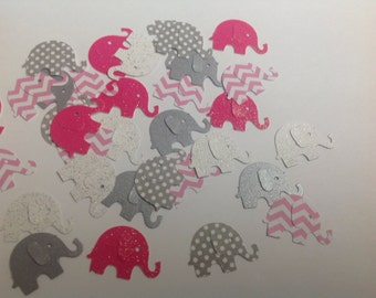 Pinks Grays Paper  Elephants 50 pc  Confetti for Baby Shower Birthday  Cards