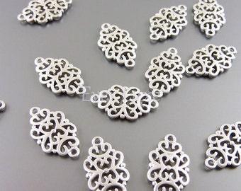 4 Matte silver 18mm oriental filigree pendants, jewelry pendants, necklace pendants, charms 1188-MR-18 (matte silver, 18mm, 4 pieces)