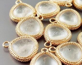 2 matte rose gold framed smooth crystal quartz teardrop briolette, framed stones 5123MRG-CR (matte rose gold, crystal quartz, 2 pieces)