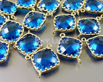 2 capri blue 13mm diamond shape glass connectors with frame, glass stones, supplies 5022G-CB-13 (bright gold, capri blue, 13mm, 2 pieces)