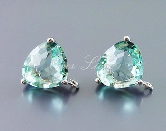 2 prasiolite / light green glass earrings, green stone earrings, perfect for weddings / parties / proms 5133R-PR