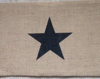 Burlap lone star lumbar pillow cushion cover
