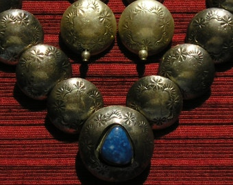 Navajo Sterling Silver Sodalite Stamped Bench Bead Necklace and Earrings Set