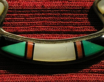 Native American Sterling Silver Turquoise Multi-Stone Inlay Necklace