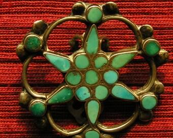 Large Zuni Dishta Inlay Turquoise Star / Flower Inlay Clip Earrings