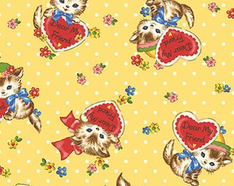 SALE, Quilt Gate, Pocket Kittens, Kittens Yellow Hearts, 1 yard
